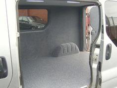 Vauxhall Vivaro / Renault Trafic - Light grey velour to sides and doors. Heavy duty non slip granite floorcovering. www.vanax.co.uk