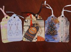 Making gift tags from greeting cards, recycling holiday gift card. Diy Projects To Try, Crafts To Make, Crafts For Kids, Homemade Gift Tags, Old Greeting Cards, Diy Cards, Holiday Gifts, Holiday Ideas, Merry