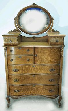 Oak Serpentine Hichest with Hat Box and Glove Boxes supporting ... #AntiqueFurnitureForSale