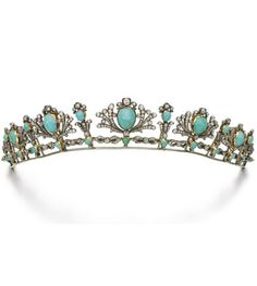 Turquoise and Diamond Tiara/Necklace, late 19th century  Designed as a graduated series of palmette motifs, each set with a cabochon turquoise within a surround of circular-cut diamonds, mounted on a line of figure-of-eight links, inner circumference...