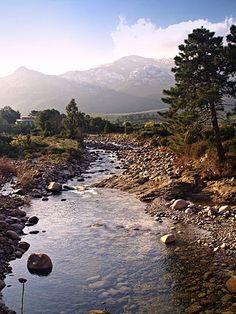 Corsica - Fleuves et Rivières - La Figarella est un petit fleuve côtier de la Haute-Corse et se jette dans la Mer Méditerranée.La longueur de son cours d'eau est de 24 km.Dans sa partie haute, la Figarella s'appelle ruisseau de Lomitu ensuite ruisseau de Spasimata. Il naît sur les pentes nord de la Muvrella (2 148 m), à l'altitude de 1 930 mètres, juste au-dessus du petit lac de la Muvrella (1 867 m), sur la commune de Calenzana. La Figarella en amont du pont RD 51
