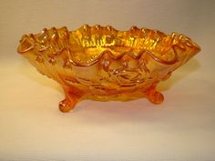 *IMPERIAL GLASS ~ Open Rose Marigold Carnival Glass 3 Footed Double Crimped Bowl