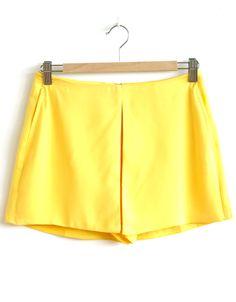 Parisian Front Split Plain Skort in Yellow £ 12.95 #chiarafashion