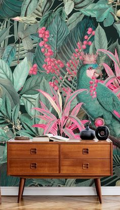 Shop this beautiful King of Parrots mural by Andrea Haase. Bring vivid colour to your surroundings with this beautiful tropical parrot wallpaper mural. Featuring clashing greens and pink, this jungle wallpaper is great for bringing your decor up to date. Bring vivid colour to your surroundings with this beautiful tropical parrot wallpaper mural. Featuring clashing greens and pink, this jungle wallpaper is great for bringing your decor up to date. Find more home inspiration from Wallsauce. Parrot Wallpaper, Watercolor Wallpaper, Pink Wallpaper, Peel And Stick Wallpaper, Wall Wallpaper, Watercolour, Perfect Wallpaper, High Quality Wallpapers, Botanical Prints