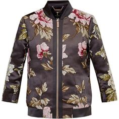 Ted Baker Hartye Floral Jacquard Bomber Jacket, Grey Marl ($220) ❤ liked on Polyvore featuring outerwear, jackets, lightweight jackets, print bomber jacket, sport jacket, lightweight bomber jacket and grey bomber jacket