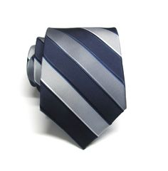 Mens Ties Navy Blue Gray Silver Stripes Necktie With Matching Pocket Square Option. Wedding ties. by TieObsessed on Etsy https://www.etsy.com/nz/listing/271464758/mens-ties-navy-blue-gray-silver-stripes