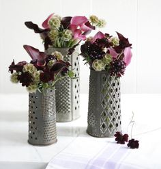 love the antique cheese graters concealing vases. Now I have to be on the lookout for old graters! Simple Centerpieces, Holiday Centerpieces, Deep Purple, Country Decor, Farmhouse Decor, Cheese Grater, Old Kitchen, Kitchen Decor, Blog Deco