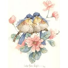 This x lithograph is one of many bird pairs painted by Carolyn Shores Wright over the years. This print is one of a pair. Image size is x Bird Drawings, Cute Drawings, Watercolor Bird, Watercolor Paintings, Image Deco, Paper Birds, Bird Pictures, Cute Birds, Vintage Birds