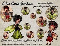 """80 images pour collage digital cabochons bijoux 'Miss porte bonheur"""" envoi par mail : Loisirs créatifs, scrapbooking par miss-coopecoll"""