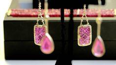 Jade Jagger carved ruby earrings in gold.