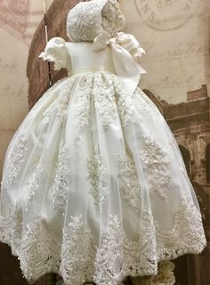 Diy Crafts - Christening gown and bonnet, is made with heavily hand beaded lace and silk Featuring puff sleeves decorated with delicate Venetian trim Lace Christening Gowns, Baptism Gown, Christening Outfit, Baptism Outfit, Girls Baptism Dress, Baby Girl Christening, Toddler Baptism Dresses, Baby Blessing Dress, Baby Dress
