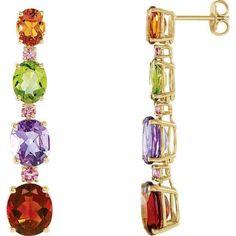 14K Yellow Multi-Gemstone Earrings
