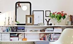 Apartment Therapy Small Spaces Living Room: The Long, Low Shelf Is a Designer Trick That Never Fails Long Low Bookcase, Low Bookshelves, Low Shelves, Long Wall Shelves, Small Space Living Room, Small Spaces, Living Room Decor, Home Library Diy, Floor Shelf