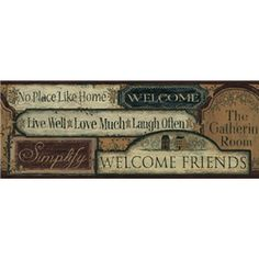 simple primitive country decor primitive welcome signs wallpaper border ct1918bd country kitchen - Kitchen Wallpaper Borders Ideas