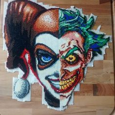 Joker/Harley Quinn perler bead art by clockworkdragonfly