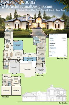 Architectural Designs Tuscan-Inspired House Plan 430008LY has a courtyard greeting and two distinct living wings accessible from the foyer. Over 4,200 square feet of heated living space. Ready when you are. Where do YOU want to build?