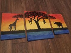 African Savanna Acrylic painting with giraffe, monkeys and elephant (made in 2017.10.27)