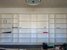 Turn IKEA billy bookcases into gorgeous built in bookshelves with these step by step instructions. Bookshelves With Tv, Bookshelves In Living Room, Bookcase Door, Ikea Billy Bookcase, Built In Bookcase, Book Shelves, Secret Storage, Hidden Storage, Storage Hacks