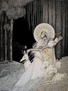 "turecepcja: ""Mixed media drawings by Orphné Achéron "" Tatouage Artemis, Art Inspo, Modelos 3d, Goddess Art, Art Et Illustration, Fairytale Art, Aesthetic Art, Dark Art, Art Reference"