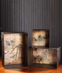 Spooky stackable cubbies make great niches for your small or unusual mini collections. Scary Halloween graphics set the mood. Decorate bookcase shelves or side tables. Display our mini jar of bones, s