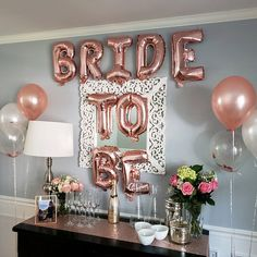 Pink Bride to be bridal shower party decor idea Bride To Be Decorations, Bachelorette Decorations, Wedding Balloon Decorations, Engagement Party Decorations, Wedding Balloons, Bridal Shower Decorations, Bachelorette Party Games, Bridal Shower Balloons, Globes