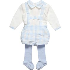 Very cute ivory and pale blue traditional style three piece set byTutto Piccolo made from soft, brushed cotton. The set includes a little blouse with a checked peter pan collar and a little pair of shorts with lederhosen style braces that cross over at the back. The waistband is elasticated and fastens with a little button at either side. With the suit is a pair of pale blue stretch cotton tights.<br /> <ul> <li>100% soft, brushed cotton</li> <li>3 piece set</li> <li>Machine wash ...
