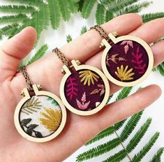 Mini Embroidery Designs Flowery embroidered necklaces by marigold + mars a good drink of water. Embroidery Bags, Embroidery Monogram, Embroidery Jewelry, Embroidery Hoop Art, Cross Stitch Embroidery, Machine Embroidery, Embroidery Stitches Tutorial, Embroidery Patterns Free, Embroidery For Beginners