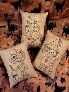 Halloween Monster Mash embroidery PDF Pattern - primitive stitchery witch Mummy Pumpkin Man pillow boo pin keep cushion tuck on Etsy, $7.99