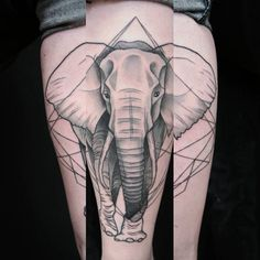 Geometric elephant tattoo by Jen Tonic Más