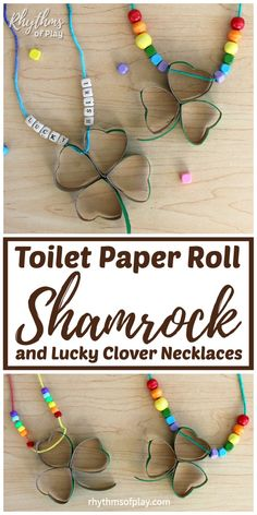 Make some toilet paper roll shamrock and clover necklaces for Saint Patrick's day. You won't get pinched without your green by this recycled shamrock craft! St Patrick's Day Crafts, Easy Crafts For Kids, Projects For Kids, Fun Crafts, Diy And Crafts, Project Ideas, Dyi, Snail Craft, Diy Wood Wall