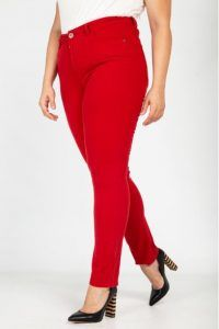 68029a9cfd39 Γυναικεία καλοκαιρινά παντελόνια σε μεγάλα μεγέθη Parabita 2018 kokkino  plus size panteloni