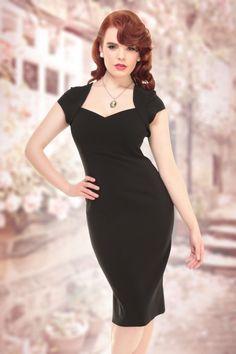 Collectif Clothing Regina Bengaline Pencil Dress Black 14747 1