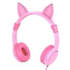 PINK EARPHONES GIRLS CAT EARS MUSICAL AUDIO ADJUSTABLE ANIMAL HEADPHONES KITTY