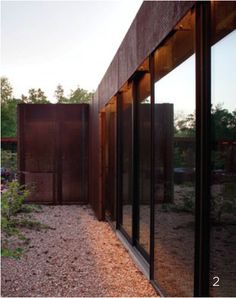 Corten metal and glass facade