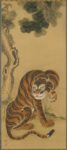 Tiger Cleaning Its Paw, early 19th century. Japan. Matsui Keichu.  Ink and colors on paper. Minneapolis Institute of Arts - The Collection