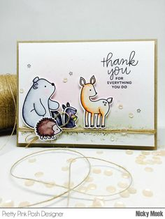 Woodland Critters - Pretty Pink Posh. Card by Nicky Noo Cards #nickynoocards https://www.etsy.com/shop/NICKYNOOCARDS?ref=hdr_shop_menu and https://www.pinterest.com/nickymeek/