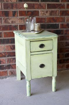 Pale apple vintage side table by dudads on Etsy, $120.00
