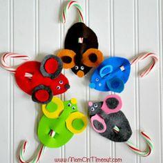 Candy Cane Christmas Mice | AllFreeChristmasCrafts.com