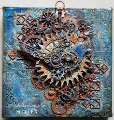 mixed media steampunk canvas by Michelle Logan via Marjie Kemper's Tuesday's Tutorials Weekly Blog Series, Week 43