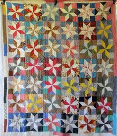 Colorful 8 Pointed Stars Vintage Quilt