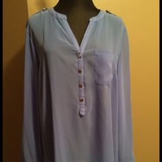 Pretty sheer blue flowy blouse Nice sheer blouse/top with convertible sleeves that can be buttoned to a shorter length. Gold button detailing. Apt. 9 Tops Blouses