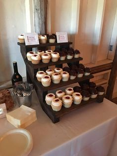 A custom request from a friend, this cupcake stand displayed wedding cupcakes beautifully. Fully assembled, The cupcake stand measures 22 tall x 18 wide x 24 deep. The shelves measure 7 deep, room for up to 48 gourmet sized cupcakes. The Cupcake Stand is available in: Espresso, Dark