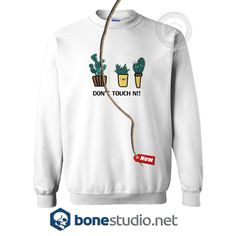 White Letter And Cactus Embroidered Style Sweatshirt Unisex size S,M,L,XL,2XL,3XL