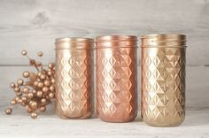 Made to order metallic Painted mason jars, set of three. Gold, copper, and blush gold. In order as shown in the picture. Perfect wedding