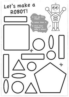 Build-a-Robot Shapes and Scissor Skills by Ellen Craig Kids Educational Crafts, Science Crafts, Preschool Activities, Educational Websites, Robot Crafts, Cutting Activities, Toddler Activities, Learning Shapes, Learning Spanish