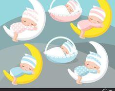 Ilustraci n vectorial de un beb durmiendo en la luna Foto de