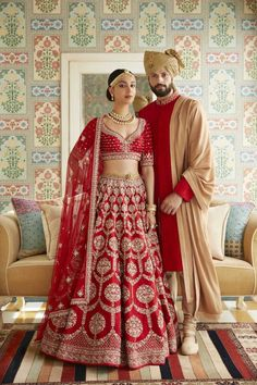 Every bride wants to have Anita Dongre lehenga for their D-Day. From modern pastels lehengas to bright one, Anita Dongre amazed everyone by her collection. Indian Bridal Outfits, Indian Bridal Lehenga, Indian Bridal Wear, Indian Dresses, Bridal Dresses, Indian Clothes, Red Wedding Lehenga, Latest Bridal Lehenga, Designer Bridal Lehenga