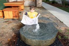 Toddler friendly water play. This would be Awesome if you could recycle the water and have it on a loop, like those little indoor fountains.