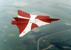 Saab Draken of the Royal Danish Air Force painted in the colours of the Danish flag to mark the end of the Draken Era in Denmark.