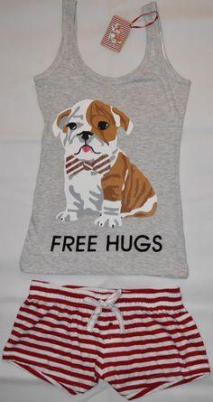 PRIMARK Free Hugs Pug Vest & Shorts PJ PYJAMAS Red White Bow UK Sizes 4 - 20 NEW